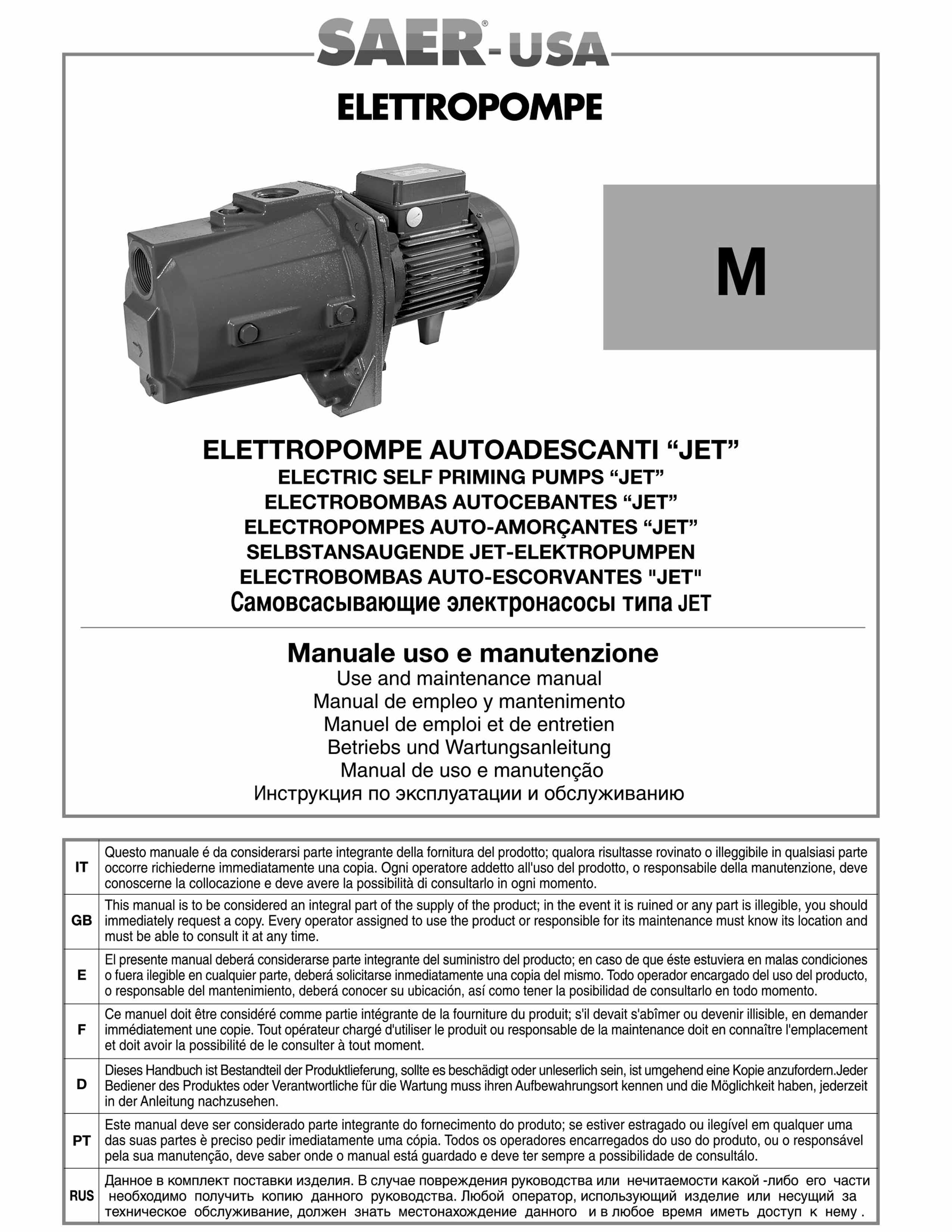 M-jet -- SAER-USA water domestic pumps- water pumps in usa