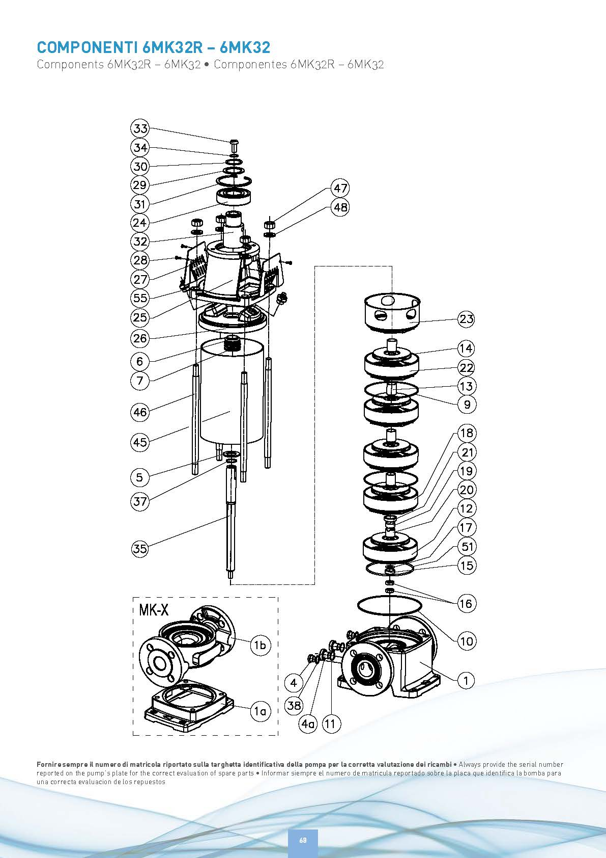 Vertical Multi-stage Electric Pump — 2 HP, 1.5 Kw, 460V - SAER 6PMK 32/4 - Components