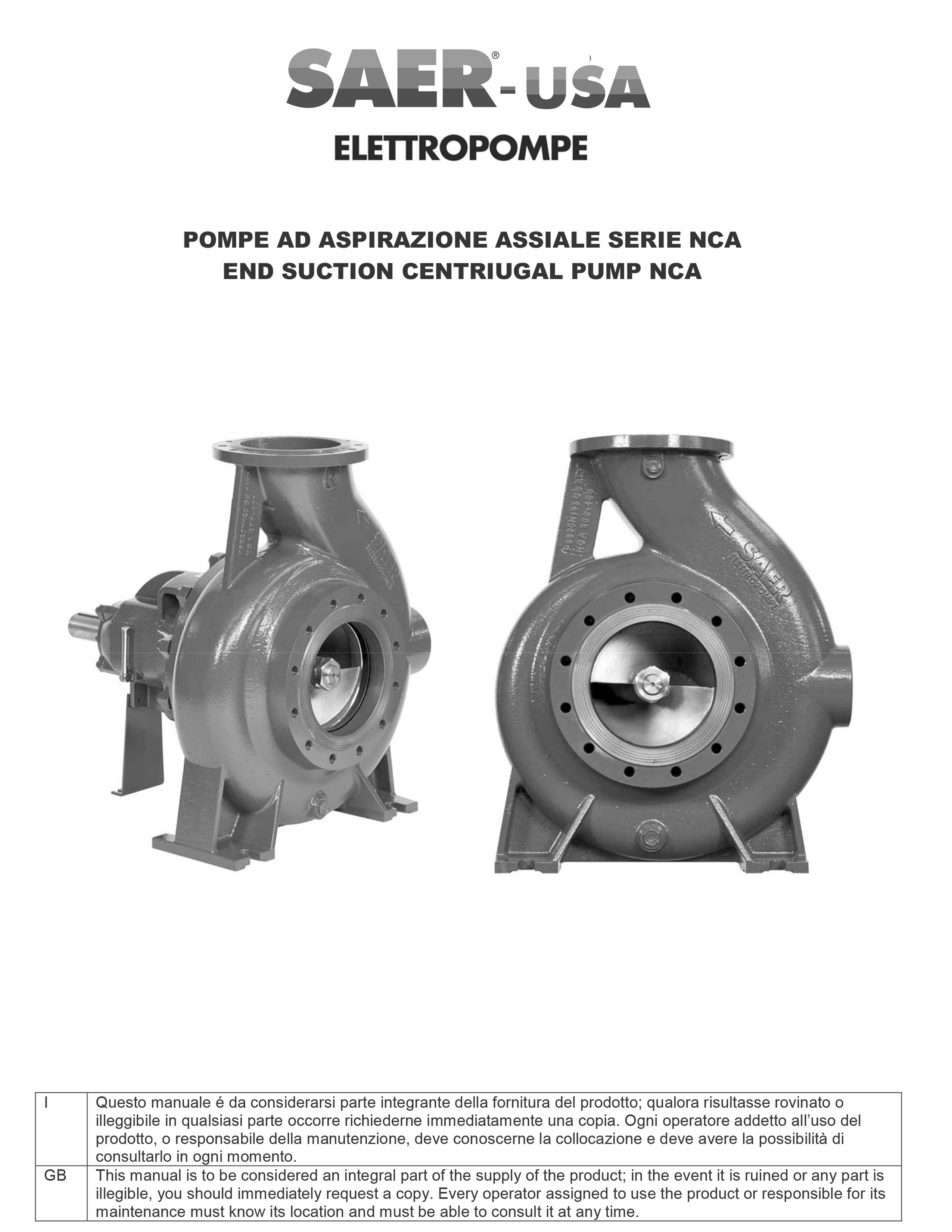 NCA -- SAER-USA water domestic pumps- water pumps in usa