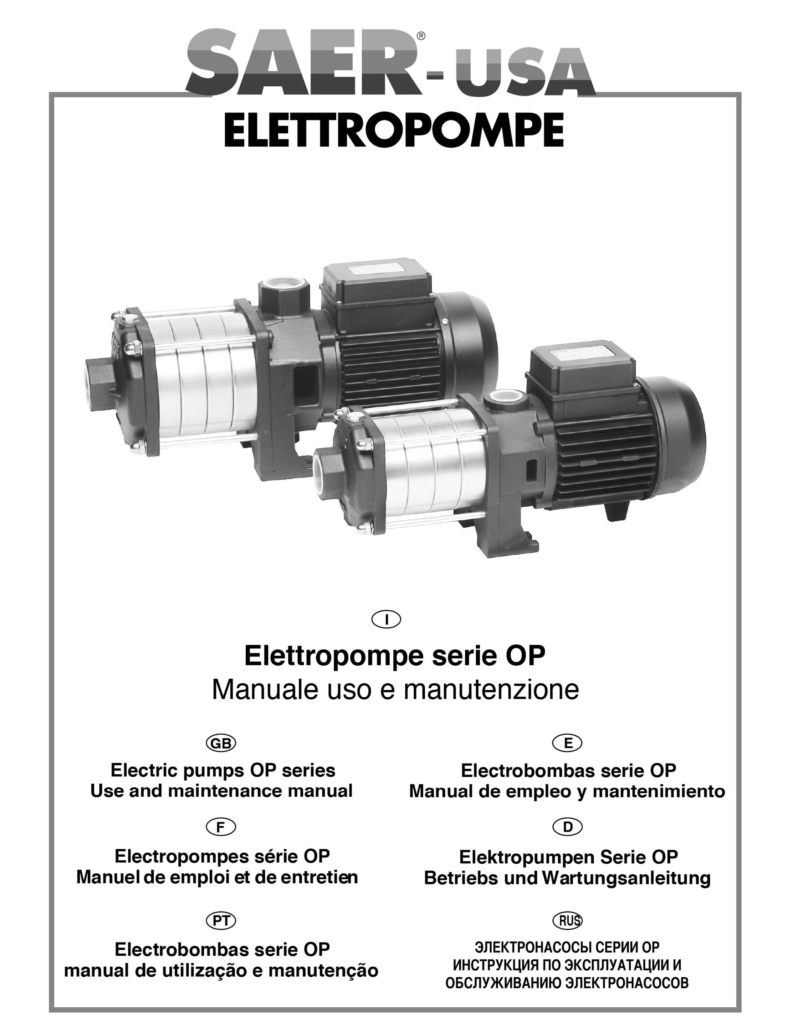 OP multistage horizontal pumps -- SAER-USA water pumps- water pumps in usa