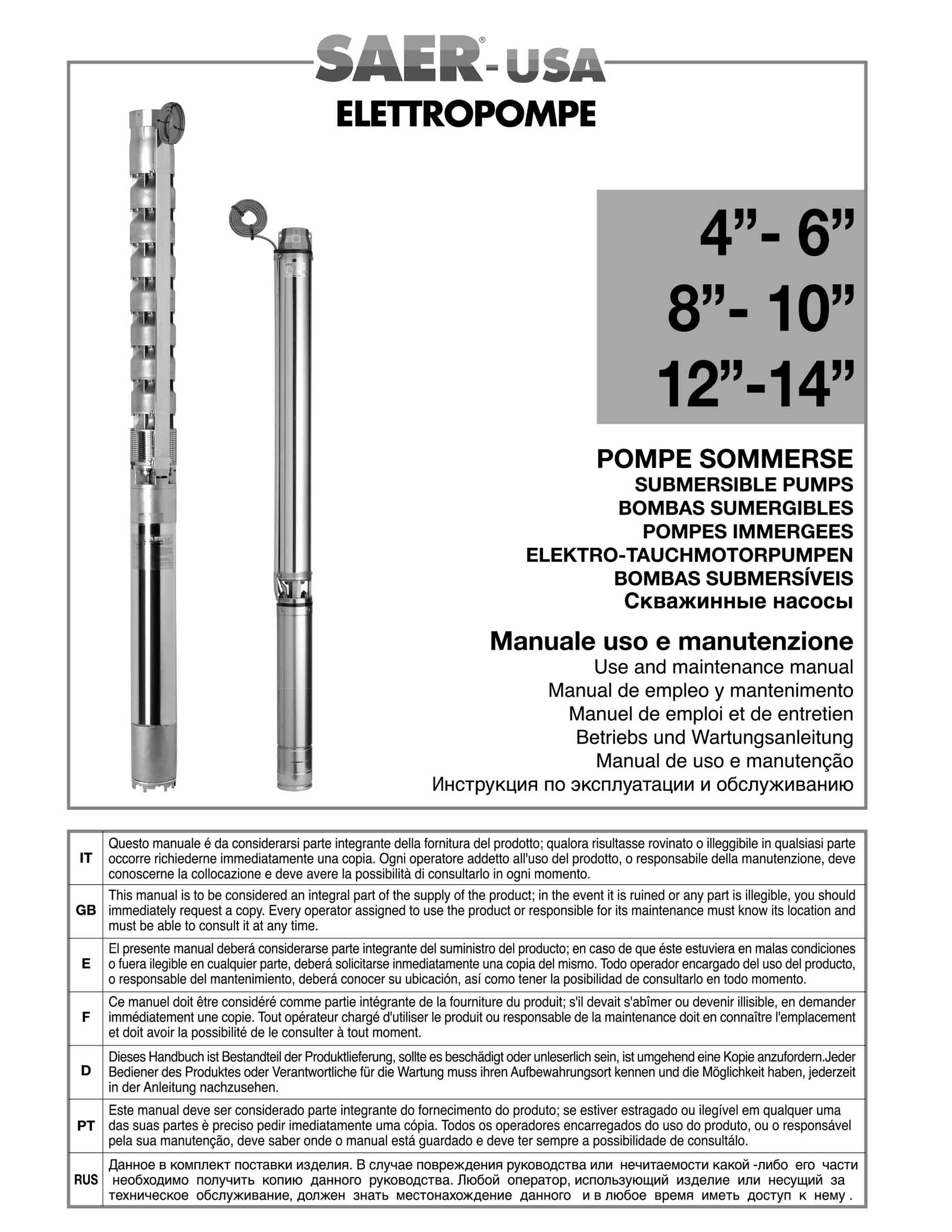 Submersible Pumps SAER-USA water pumps- water pumps in usa