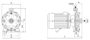 Twin Impeller Centrifugal Pump - Dimensions