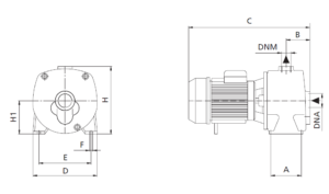 Deep Suction Well Jet Self-Priming Pump - Dimensions